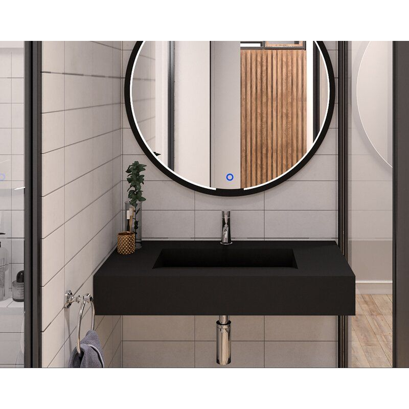 Boyter Stone Rectangular Wall Mount Bathroom Sink In 2021 Wall Mounted Bathroom Sinks Modern Bathroom Sink Wall Mounted Sink