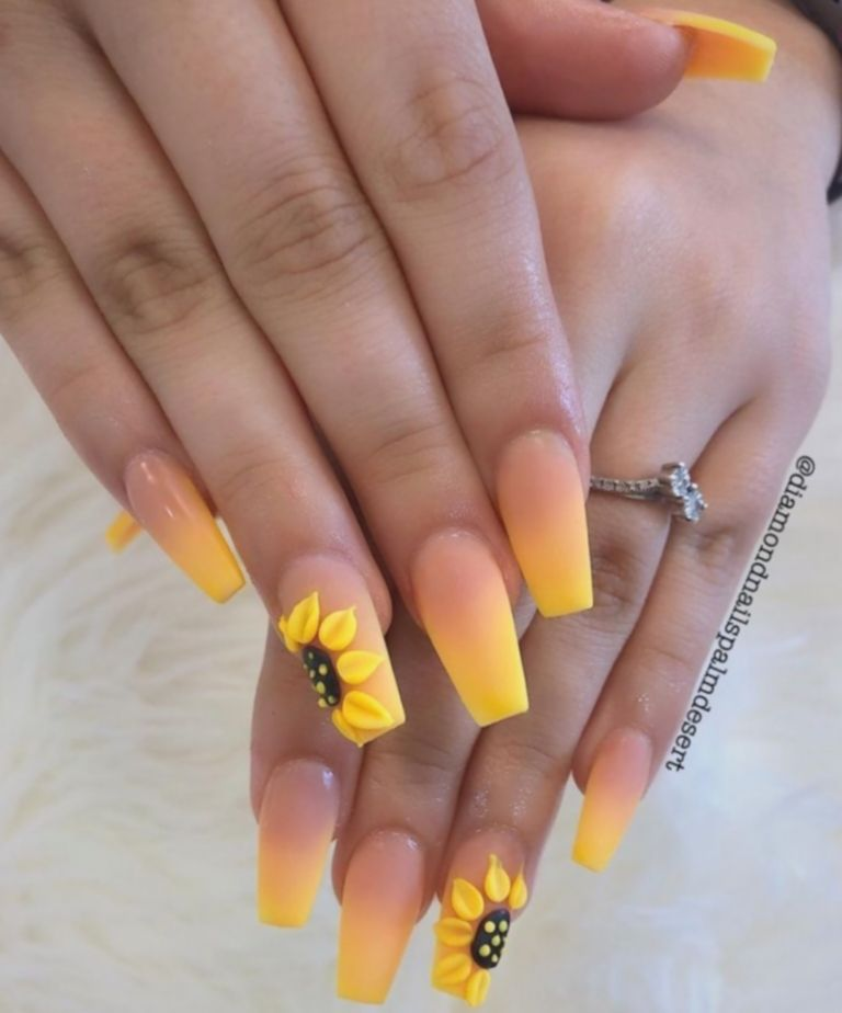 Coffin Sunflower Nails Sunflower Nails Summer Gel Nails Colored Acrylic Nails