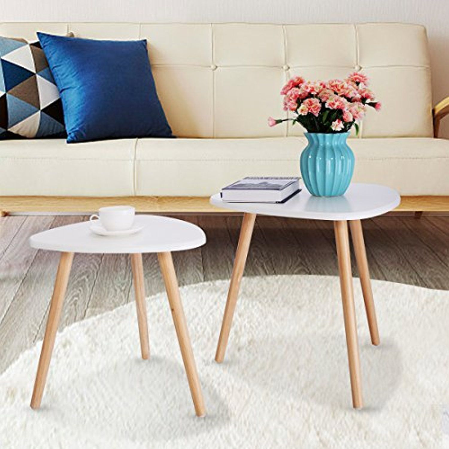 Jaxpety Set Of 2 Modern White Gloss Triangle Top Nesting Tables Living Room Side End Tables Nesting Tables Living Room Coffee And End Tables Living Room Table