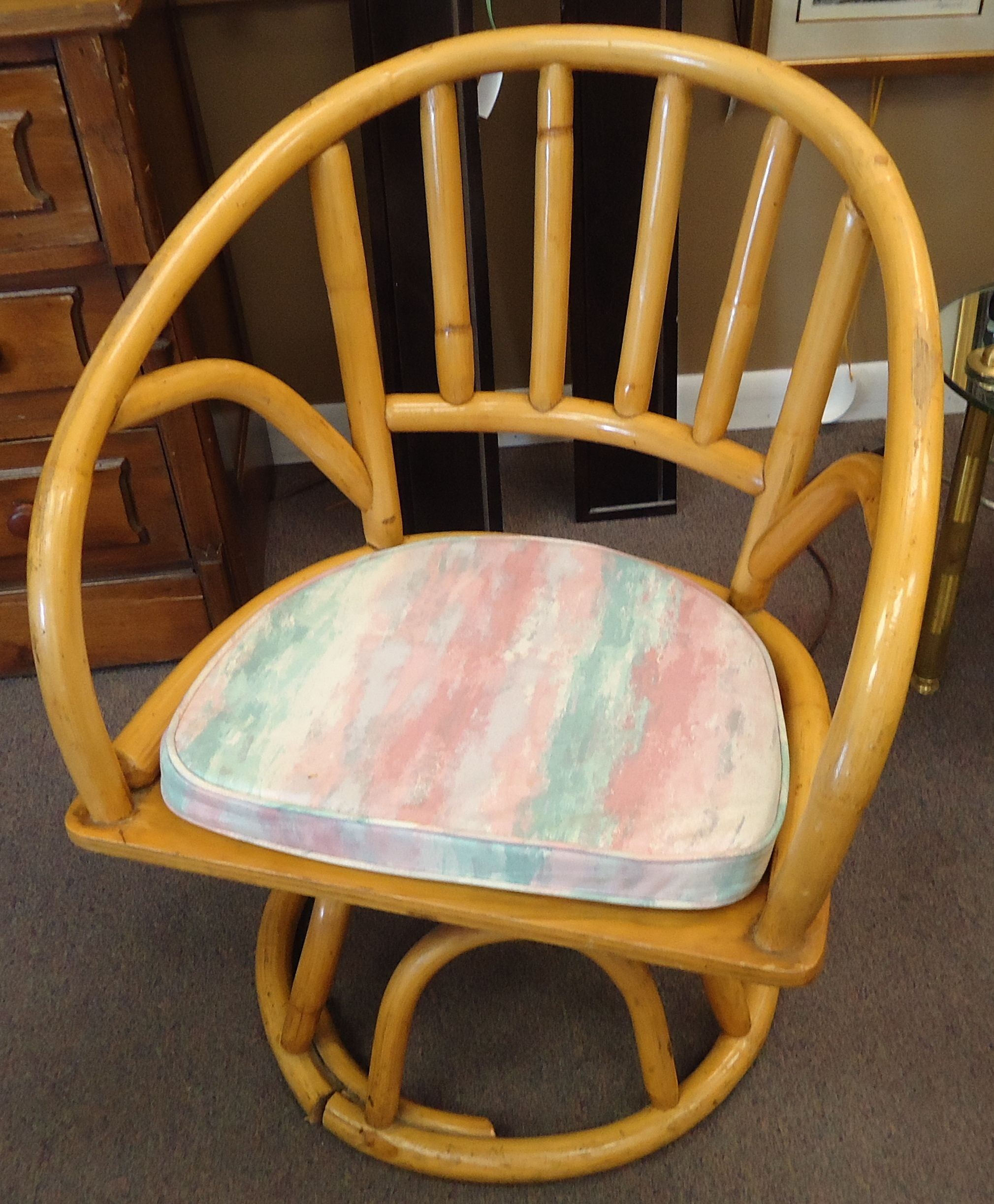 Cool vintage rattan swivel and rocking chairs