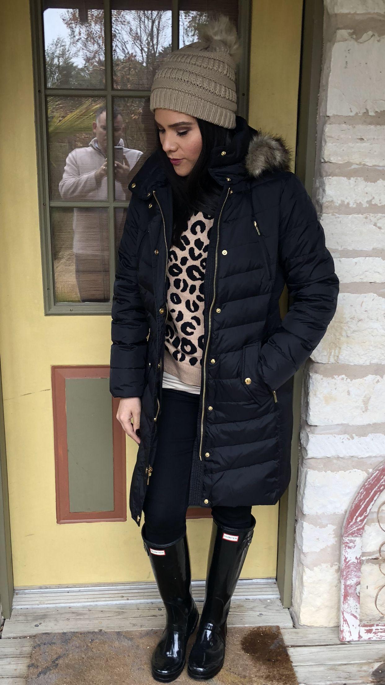 Winter outfit ideas black long puffer jacket fur hood Michael Kors leopard  print sweater target black 780f9464dd5