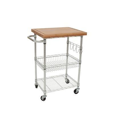 home depot kitchen cart TRINITY   TRINITY EcoStorage Bamboo Kitchen Cart   Chrome   TBFZ  home depot kitchen cart