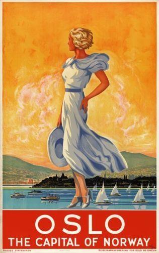 Vintage  Norway Tourism Poster A3//A2//A1 Print