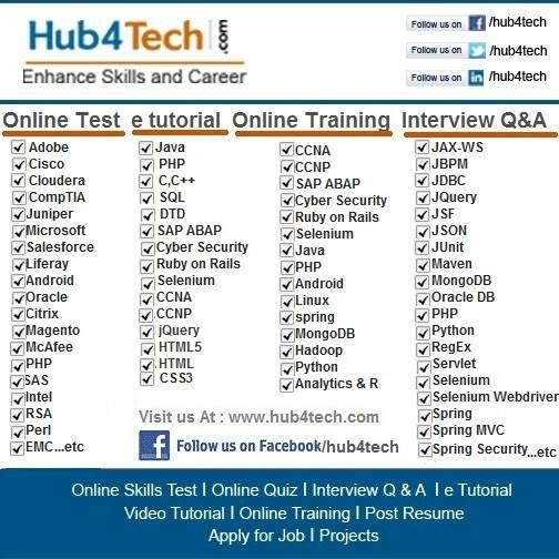 Online Skill Test, Interview Questions, Training  Projects on