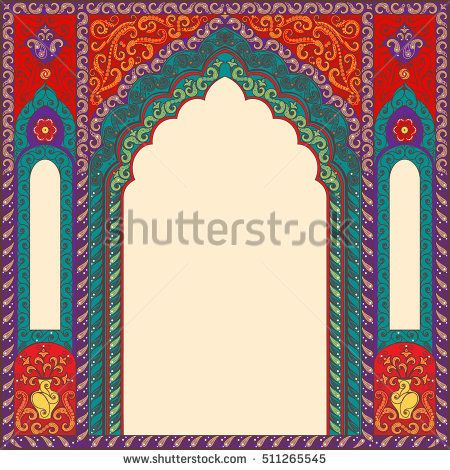Eastern Multicolored Frames Arch Template Design Elements In Oriental Style Floral Frame For Ca Vector Art Design Art Wallpaper Iphone Free Vector Ornaments