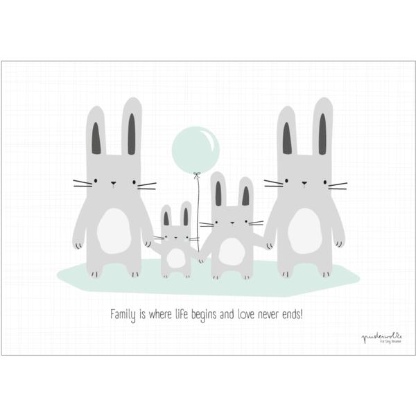 kinderzimmerdekoration  puderwolke  poster hasenfamilie