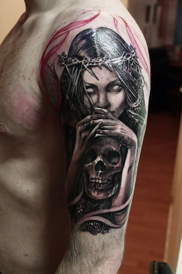 Pin By Steindor Veigarsson On Arm Pieces By Life Death Tattoos Upper Arm Tattoos Evil Tattoos Arm Tattoo