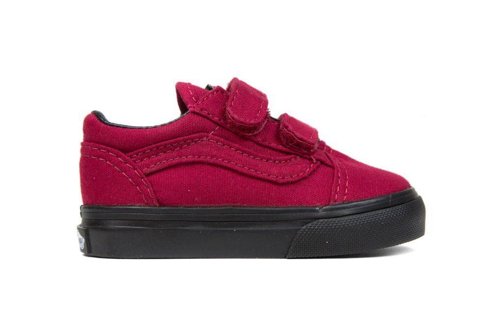 Vans Toddler Black Sole Old Skool V - Jester Red  75419910d