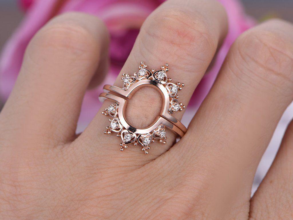 Moissanite Engagement Ring Sets Tiara Wedding 14K Rose Gold ...