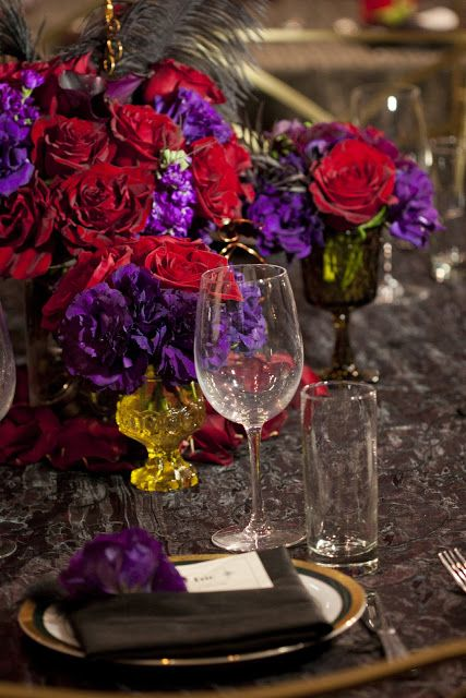 Red Dark Purple Gatsby Steampunk Purple Wedding Centerpieces