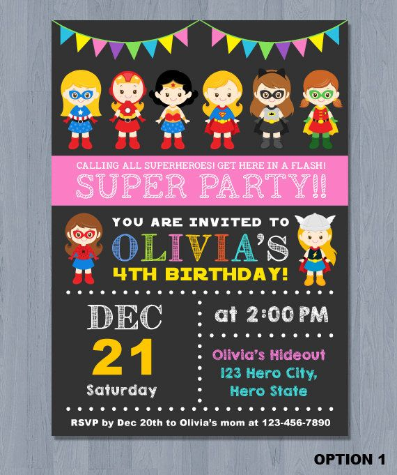 Printable Superhero Birthday Party Invitation Girl Superhero Party Invitation Superhero Birthday Invitations Superhero Birthday Party Superhero Invitations