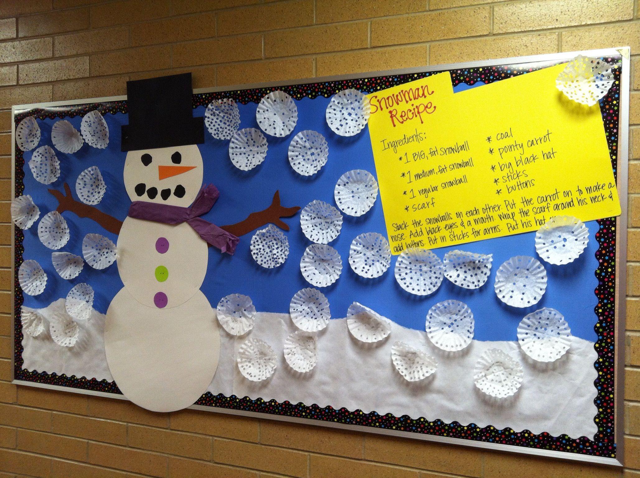 My January Bulletin Board Recipe For A Snowman Boards Winter Craft