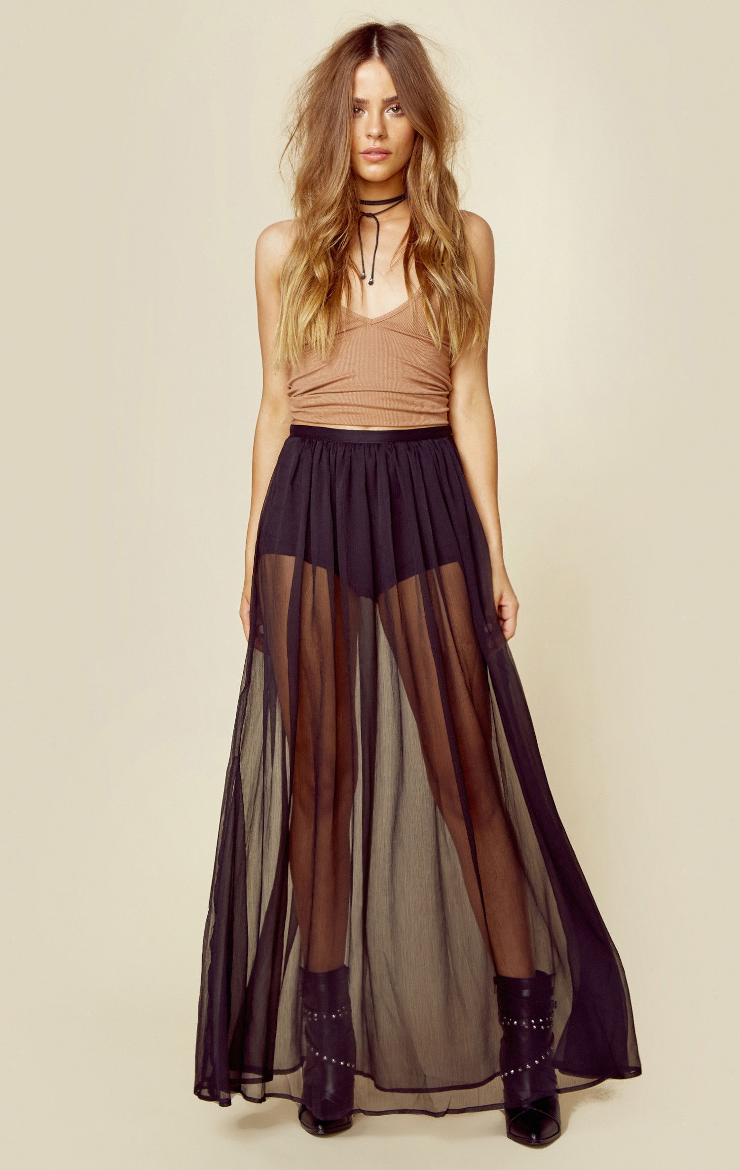 The Jetset Diaries  Ara Maxi Skirt features a sheer floor length skirt with  shorts lining ed6c650a895f