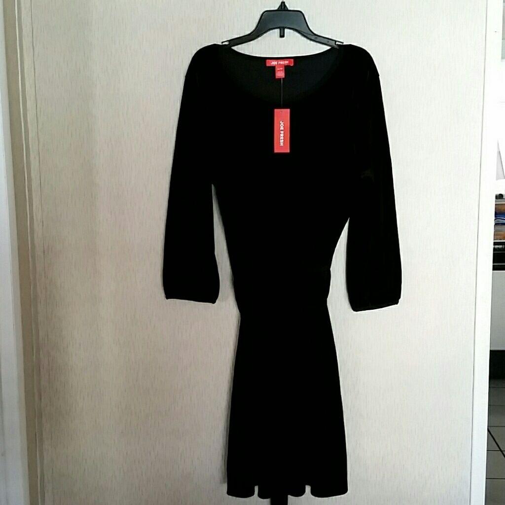New joe fresh long sleeve black velvet dress xl black velvet and