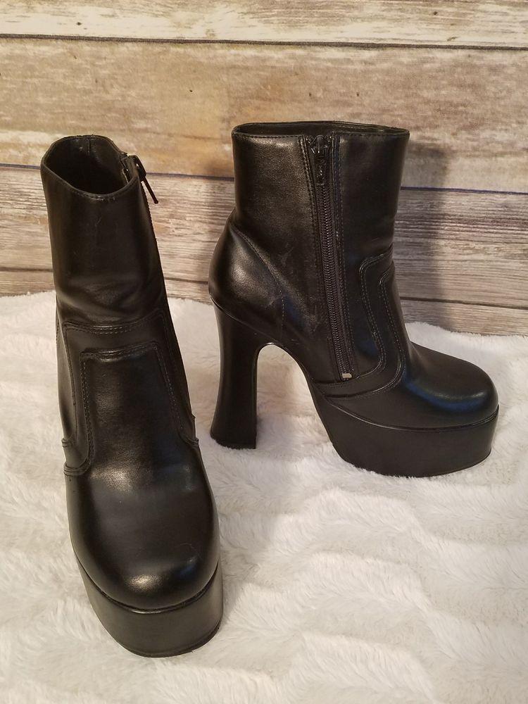 f42a8f881555 No Doubt Womens Black Platform 5 Inch Block Heel Boots 90s Goth - Size US 5