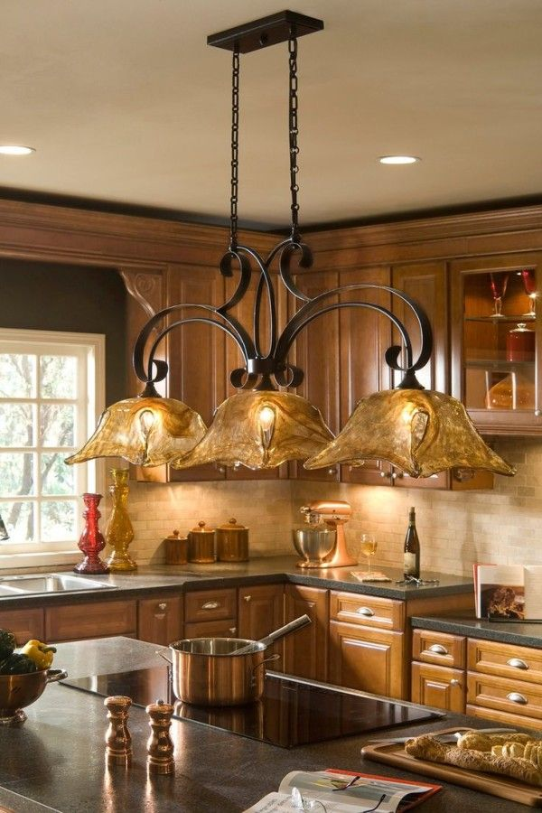 Kitchen Island Lighting Fixtures with Stained Glass Lamp Shades ...