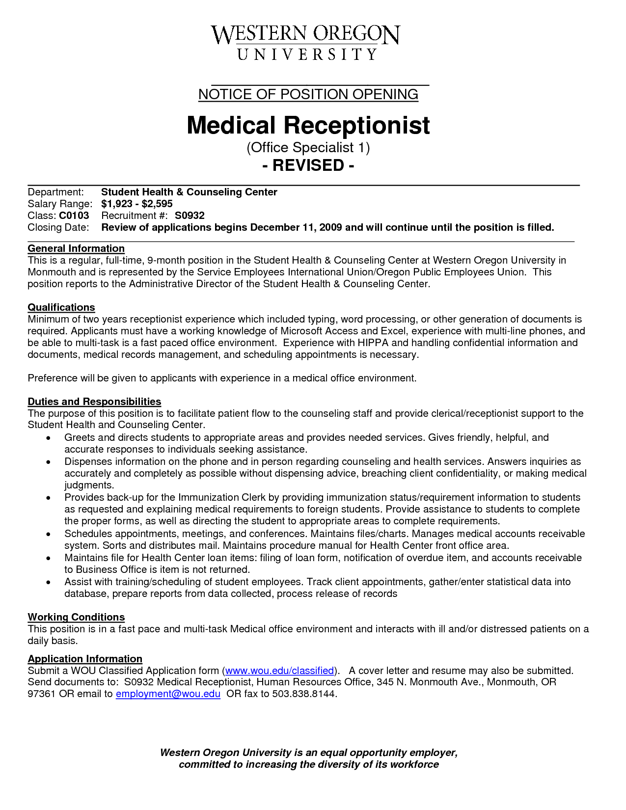 cover letter sample medical receptionist resume