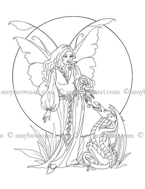 COLORING PAGE fairy and dragon by ColorYourFantasy on Etsy ...