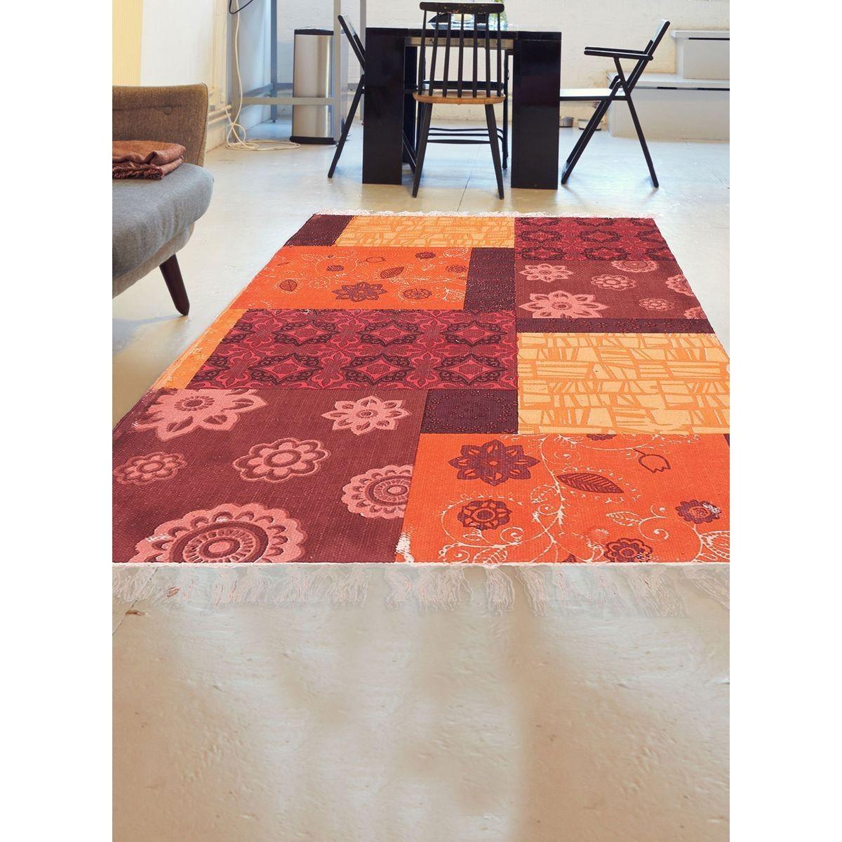 Tapis De Salon Moderne Design Tapis Franges Orange Crush ...