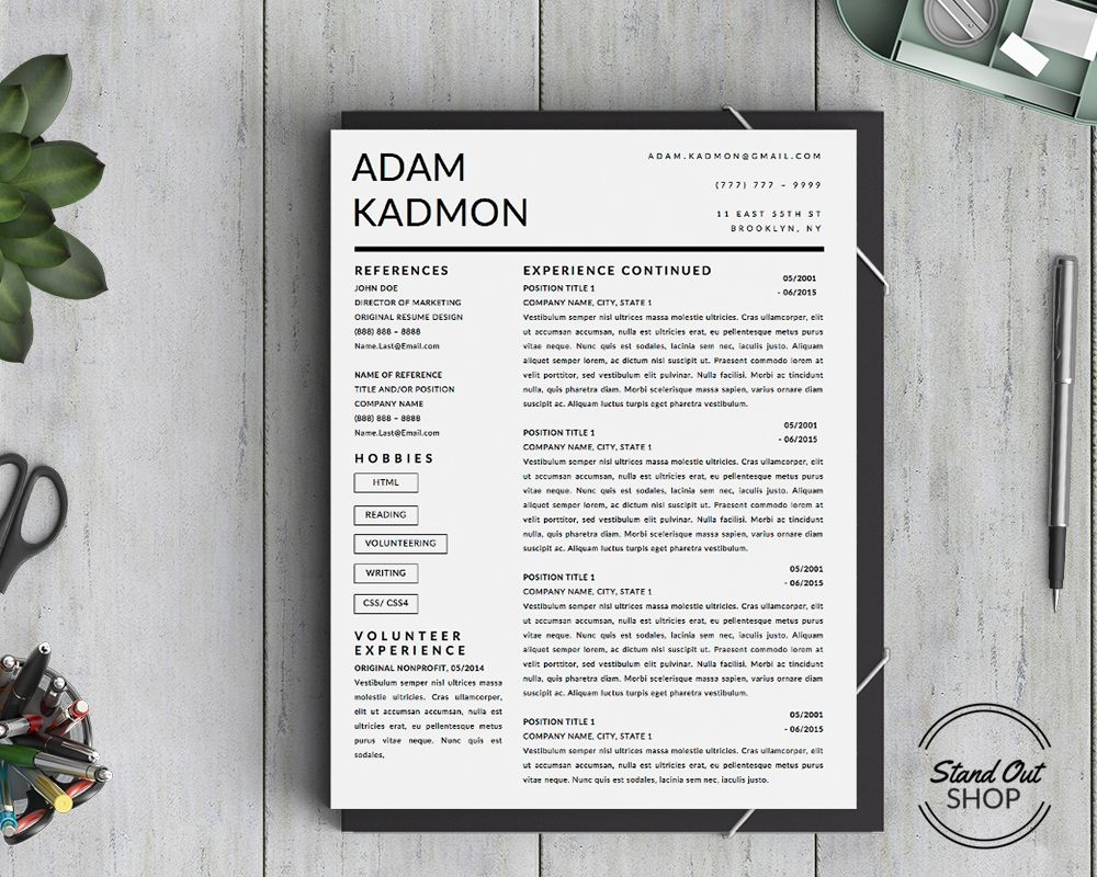 Modern 2Page Resume template for Microsoft Word Instant