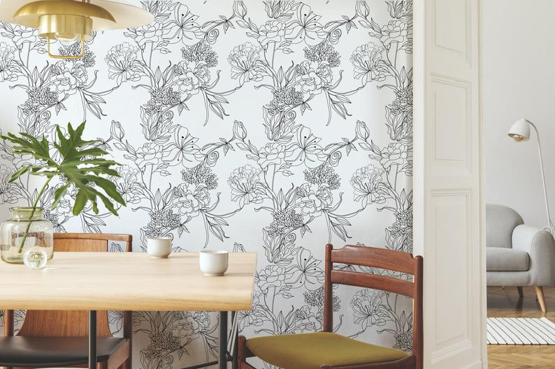 New Coquette Floral Peel N Stick Or Prepasted Etsy Prepasted Wallpaper Simple Wallpapers Textured Walls