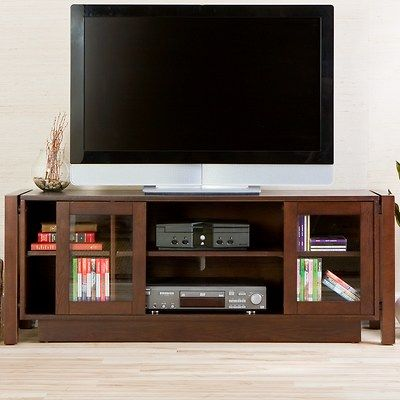 This Espresso Colored Media Cabinet Features A Wide Surface To Accommodate  Up To A 50