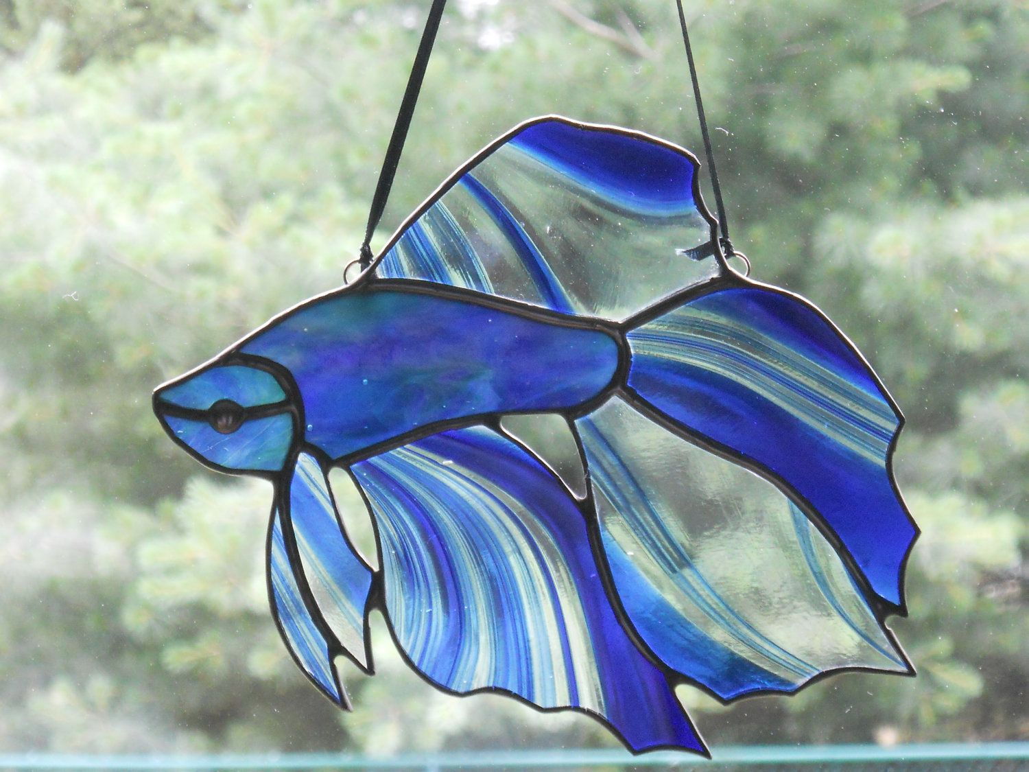 Stunning betta fish stained glass suncatcher by for Stained glass fish patterns