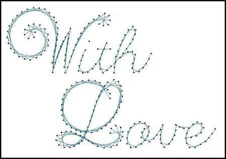 With Love Sentiment Paper Embroidery Pattern For Greeting Cards