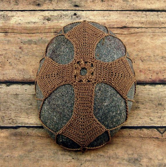 Crocheted Lace Cross Meditation Stone, Unique Christian Gift ...