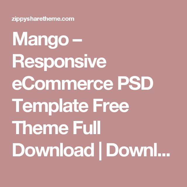 Mango – Responsive eCommerce PSD Template Free Theme Full Download ...