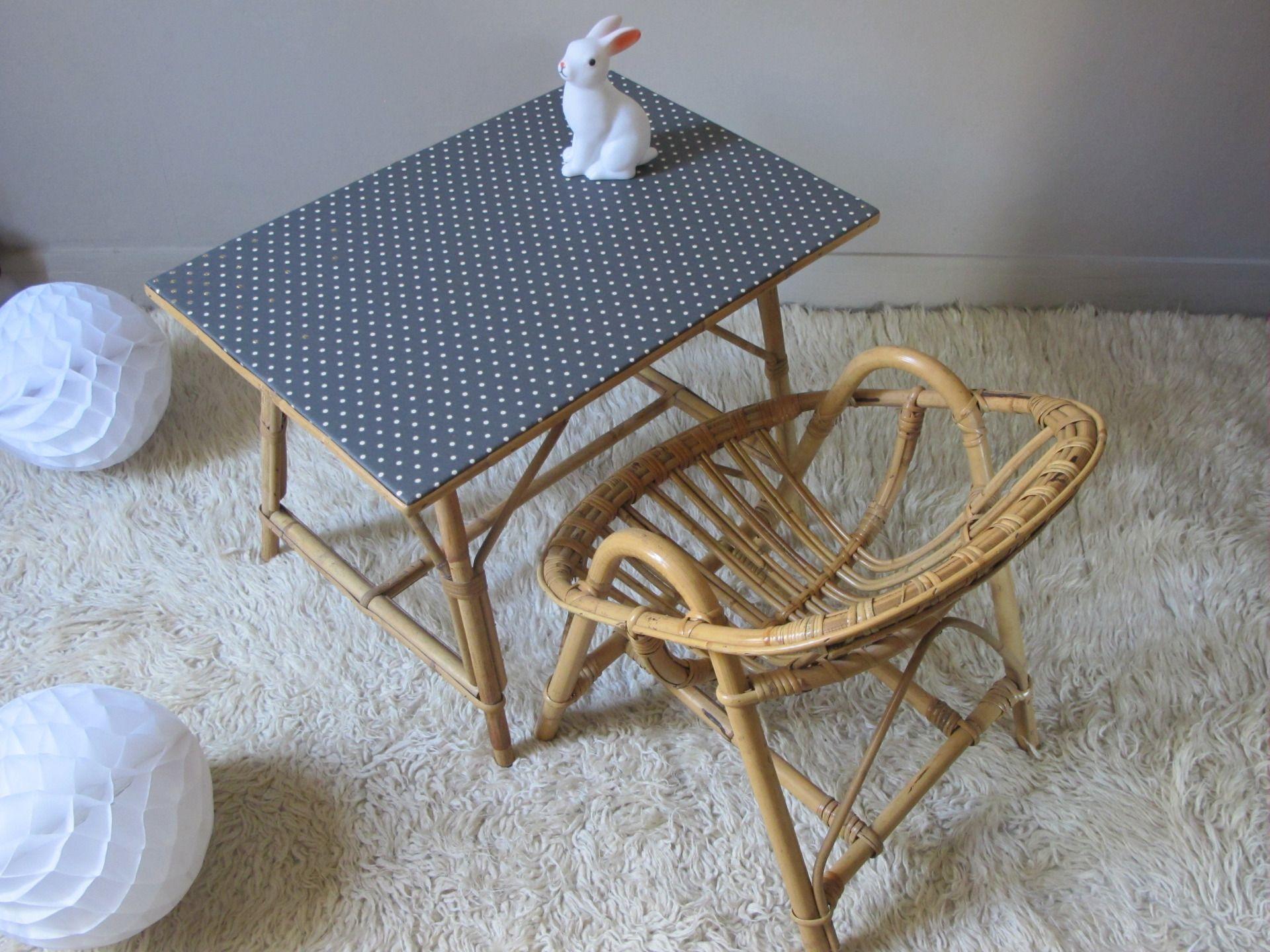 bureau et chaise rotin osier bambou vintage pour enfants Meubles