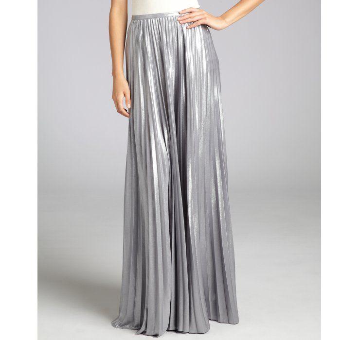 Halston Heritage silver pleated lame maxi skirt | thisisME ...
