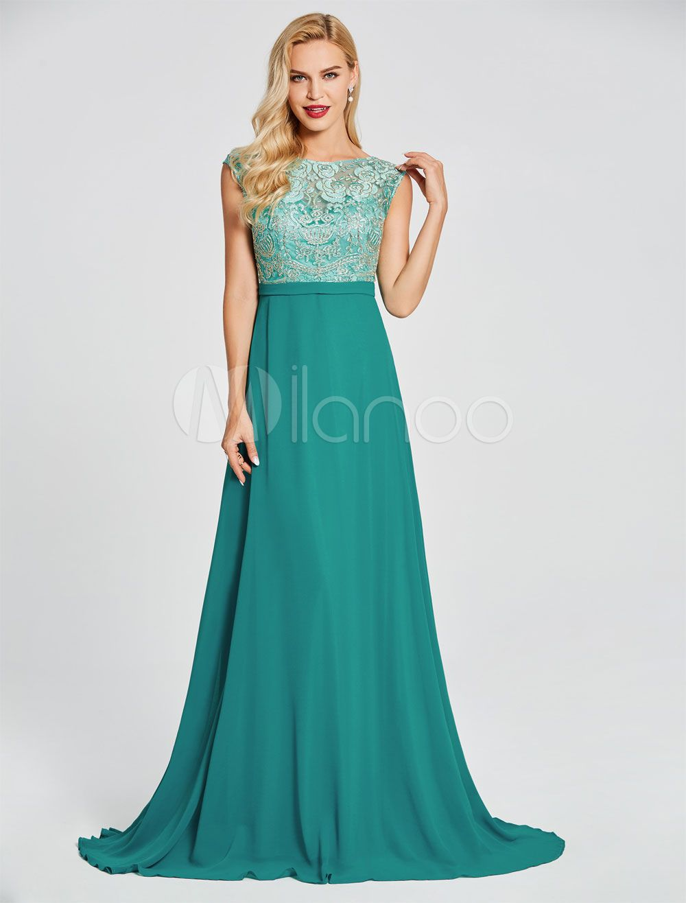 7dc551bd3f5 Prom Dresses Green Lace Chiffon Evening Gown Sleeveless V Back Wedding  Guest Dress With Train  AD