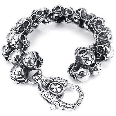 """Punk Men/'s Jewelry Heavy 316L Stainless Steel Biker Skull Bracelet Chain 8.5/"""""""