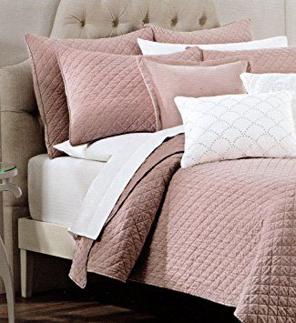 Tahari Home Luxury Glamour Bedding Velvet Diamond Soft Dusty Rose Quartz Pink Quilted Coverlet And Shams Bedspread Set Full Queen Quilt 3pc Cotton Heather