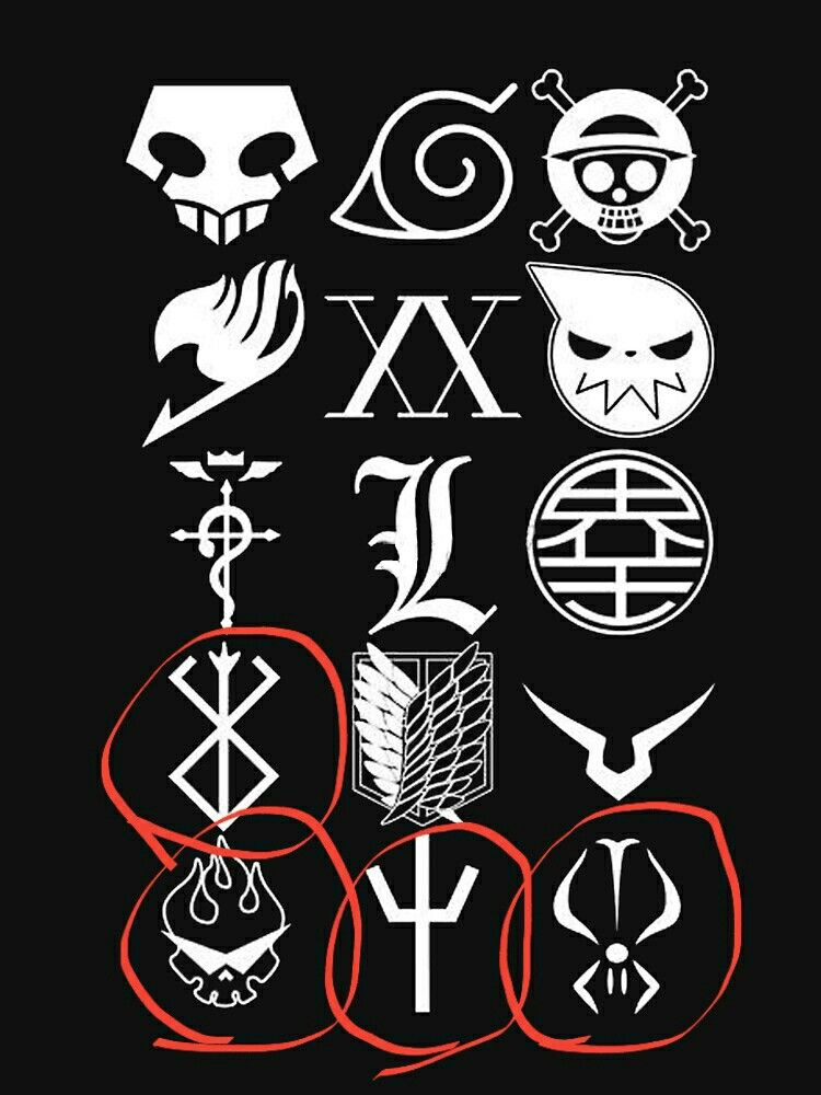 What Is The Names Of These Anime Symbols Please Tell Me One