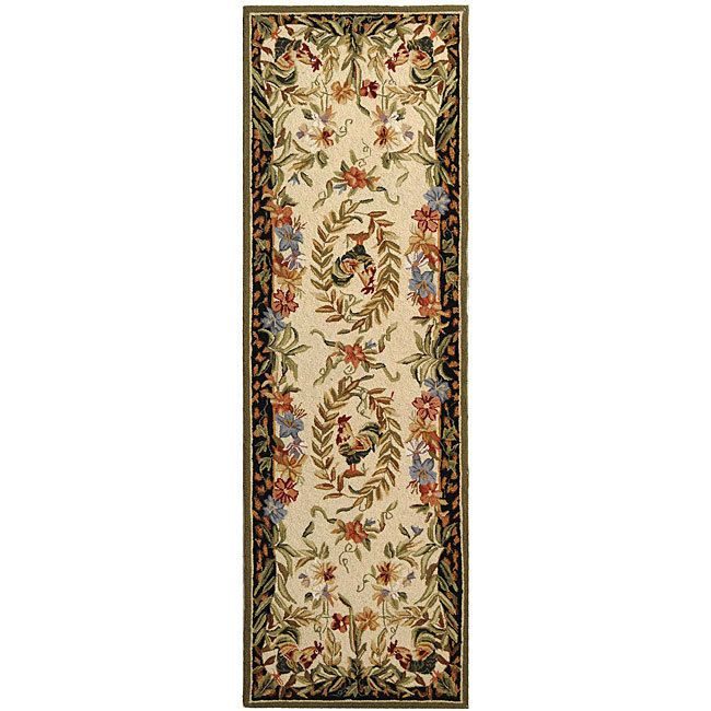 Hand Hooked Rooster And Hen Cream Black Wool Runner 2 6 X