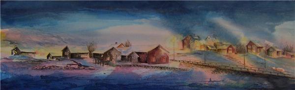 «Mørketid i nord» Akvarell - Modern Art Gallery