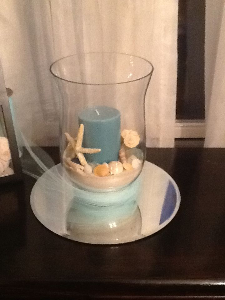 My Homemade Centerpieces Hurricane Vase Candle Sand Seashells And Round Plate Mirror Probably Will A Homemade Centerpieces Sea Decor Seashell Centerpieces