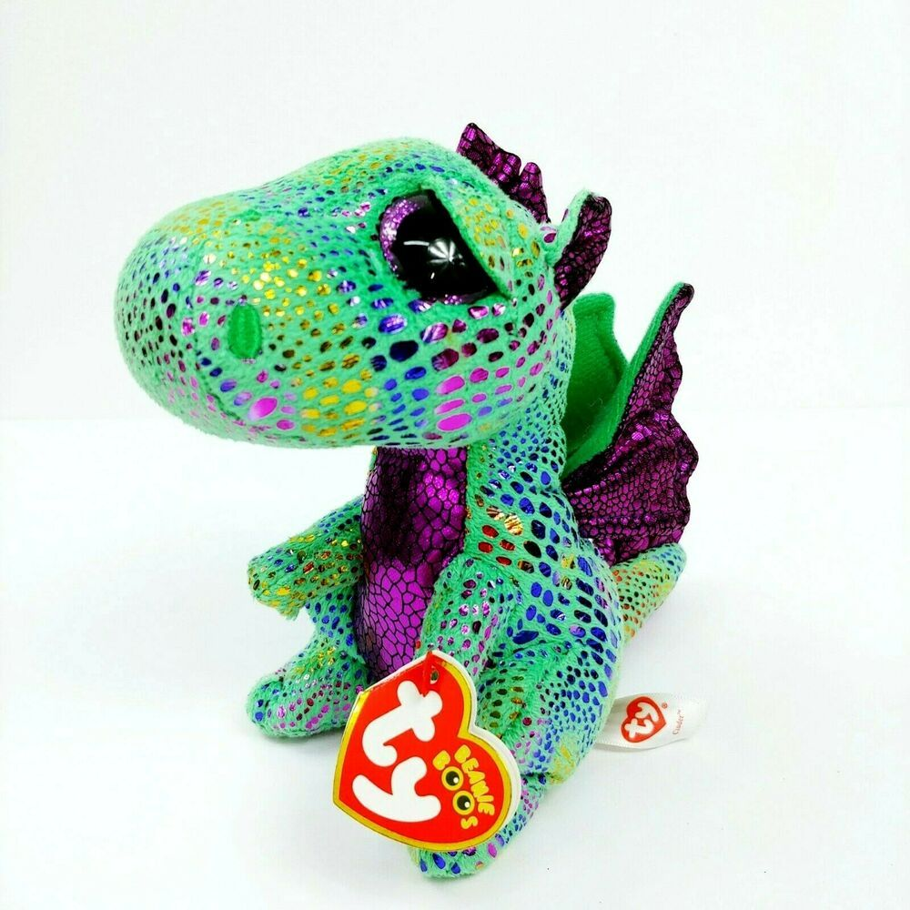 Details about Ty Beanie Boos Cinder Dragon Green Purple 6