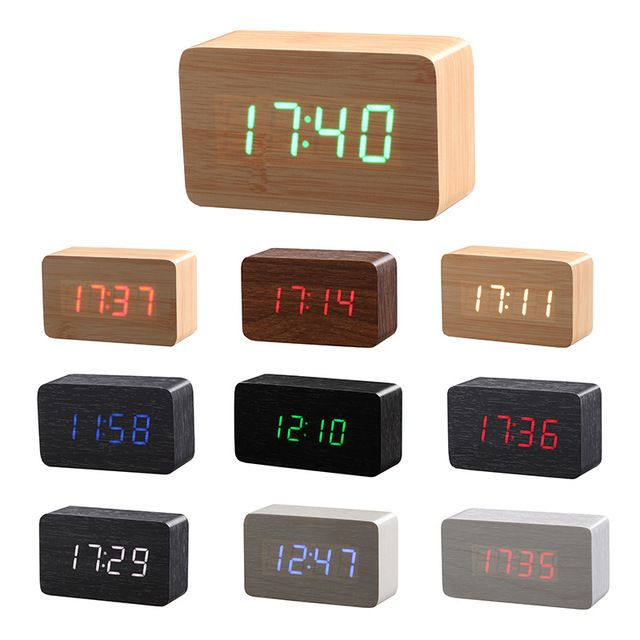New Wood Bamboo Led Alarm Clock Reloj Despertador Modern Temperature Sounds Control Led Electronic Desktop Reloj Despertador Relojes Despertadores Despertador