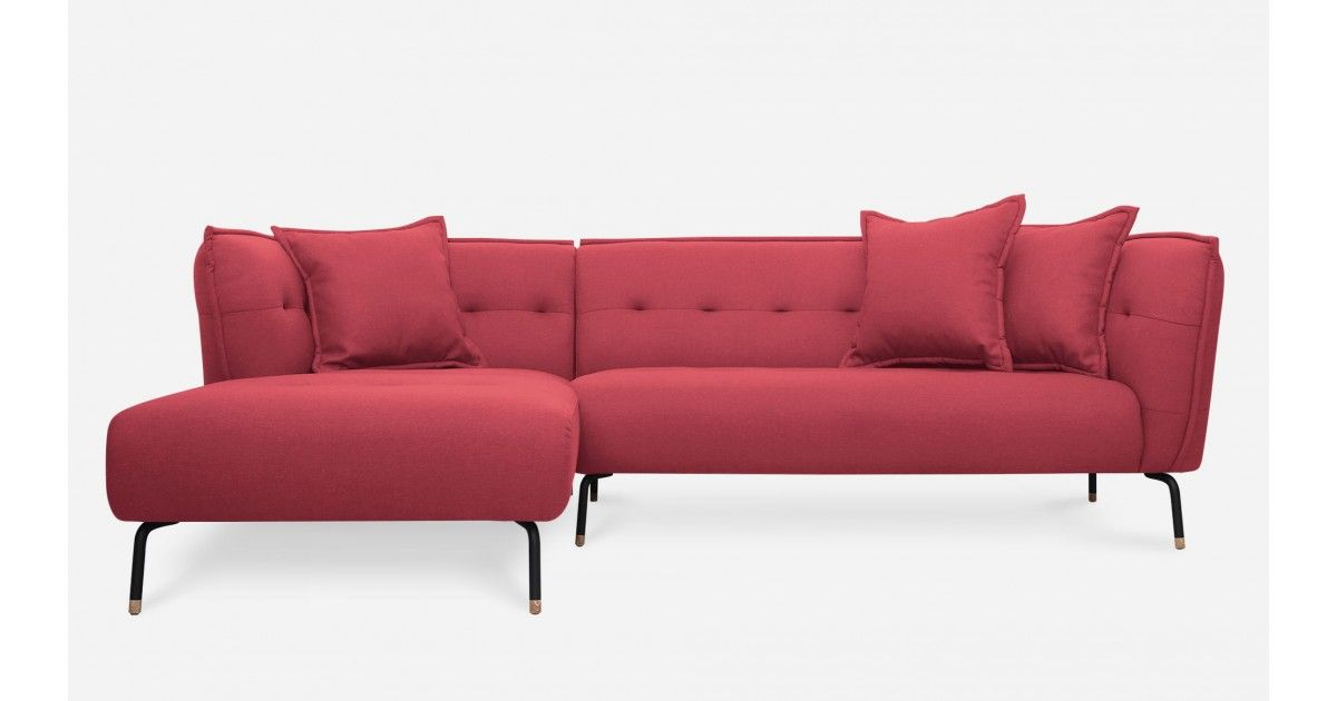 Zachary Sofa Sectional Left Hand Facing, Rosa Red - Sectional Sofas ...