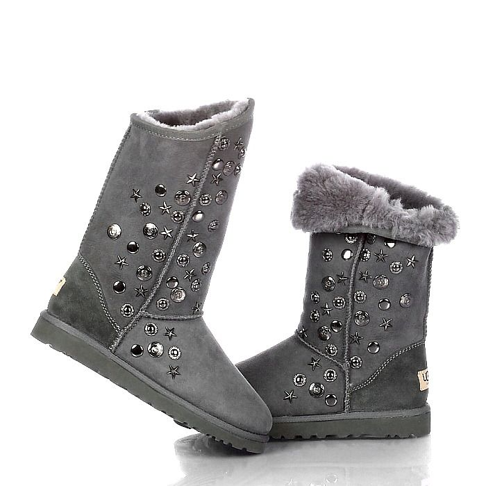new version ugg jimmy choo metal decoration boots 5838 in grey cheap for  sale