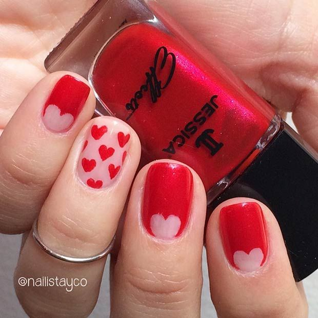 27 Pretty Nail Art Designs for Valentine\'s Day | Red nail art, Red ...