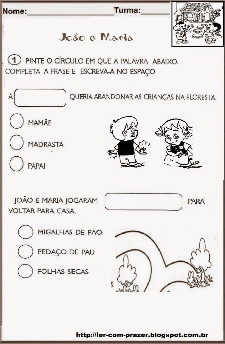 Joao E Maria Um Conto De Fadas Atividades De Contos