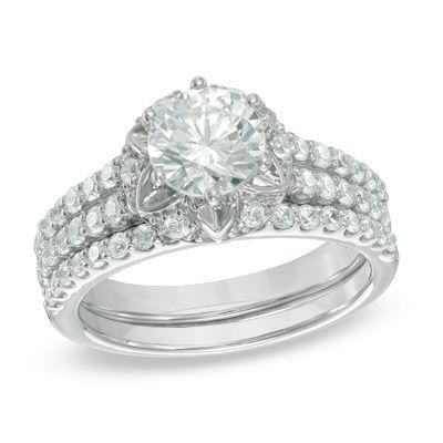 1-3/4 CT. T.W. Diamond Starburst Frame Bridal Set in 14K White Gold