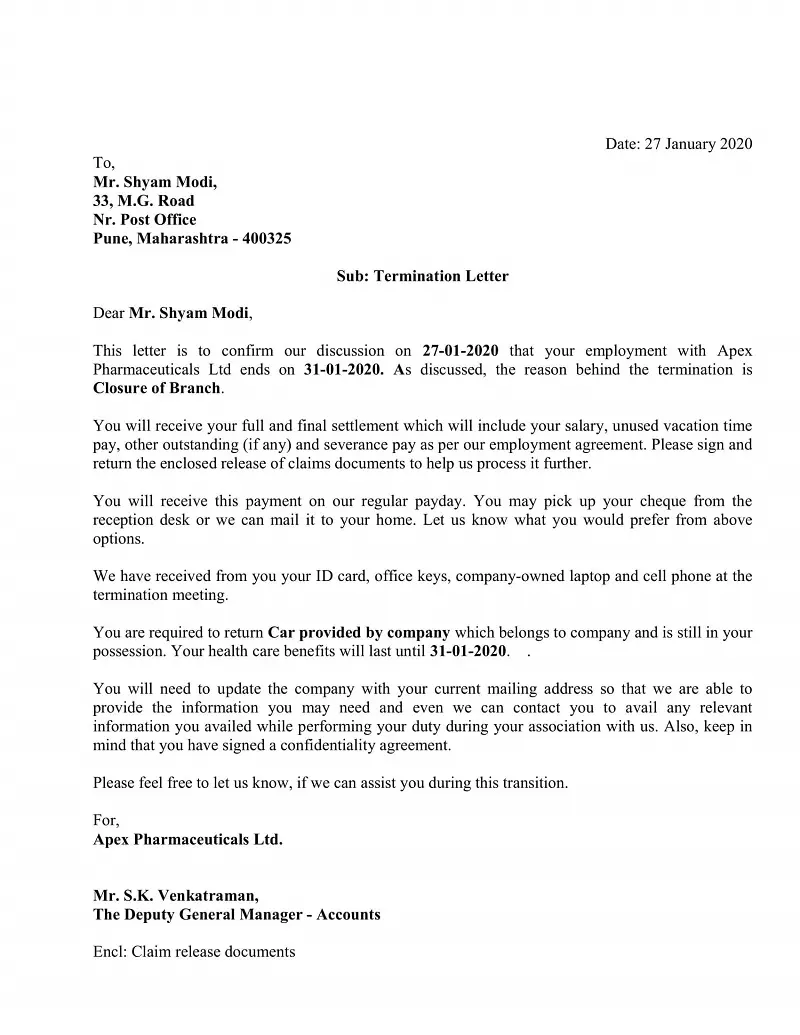 Download Employee Termination Letter Excel Template