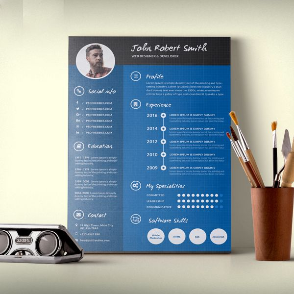 Creative And Professional Resume CV Free PSD Template resumes