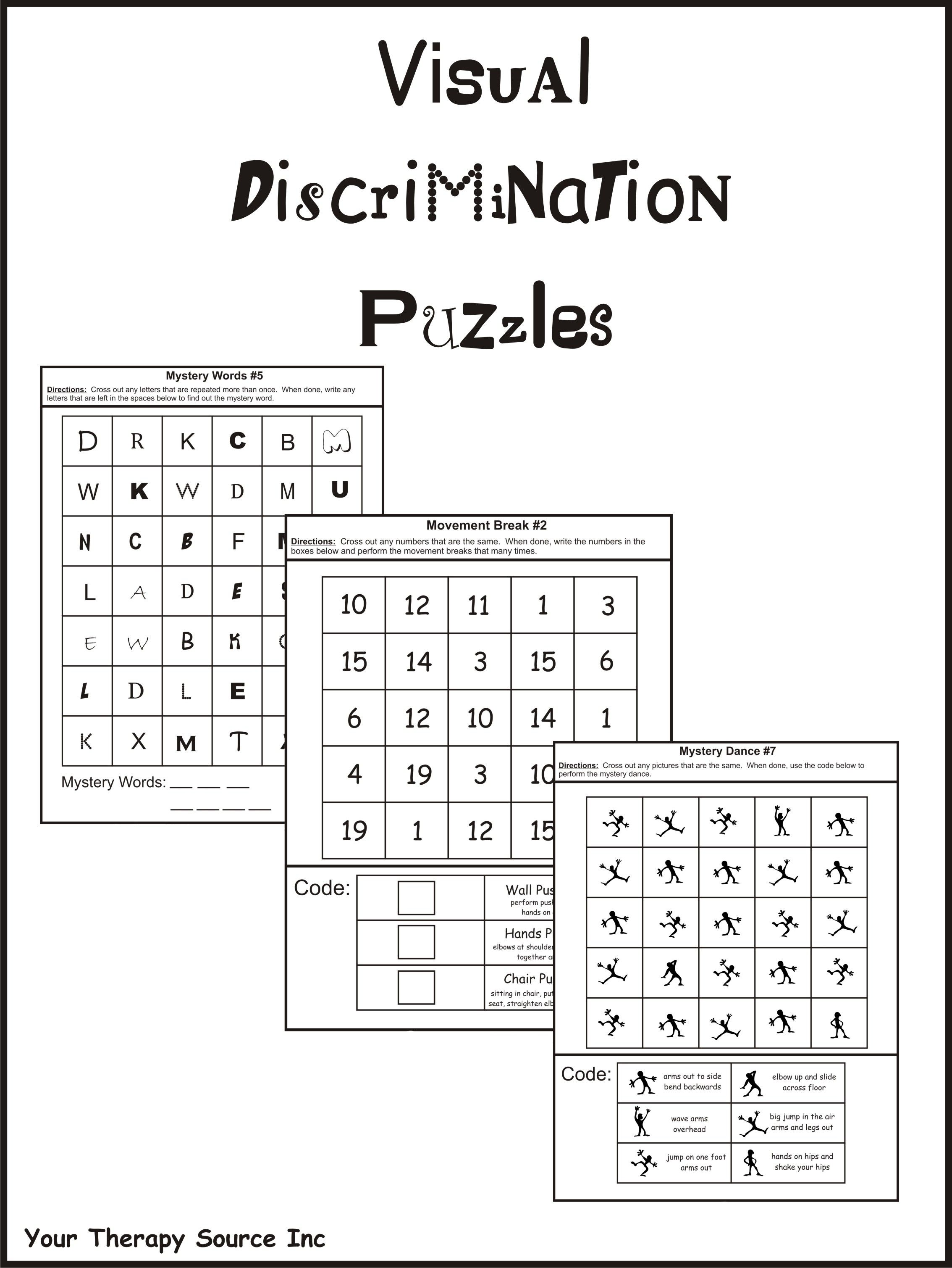discrimination worksheet These worksheets will help your little learners practice visual discrimination skills they will be helpful for intervention or remediation in kindergarten or when introducing letters and numbers in pre-k learning to find little differences is a big part of learning to read.