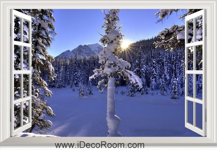 3D Winter Mountains Trees Landscape Sun window wall sticker art decal IDCCH-LS-002108